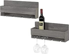 MyGift Barnwood Gray Wall-Mounted Wine Glass & Bottle Racks with 4 Stemware Slots, Set of 2