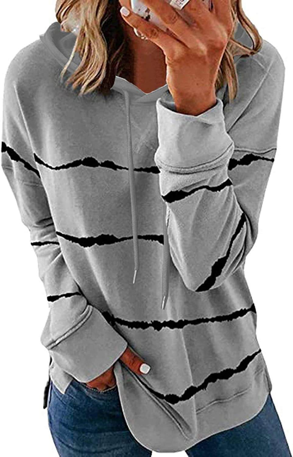 Hoodies for Women Pullover, Women's Casual Round Neck Fashion Long Sleeve Top Mid-Length Stripe Drawstring Sweatshirts