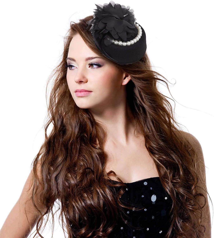 Vintage Beads Flower Feather Fascinator British Style Wedding Parties Bowler Hat