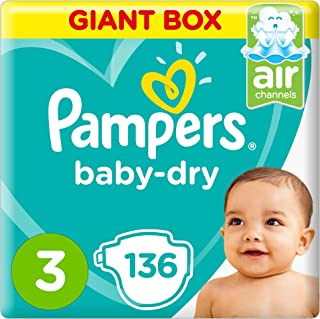 Pampers Baby-Dry Diapers, Size 3, Midi, 5-9kg, Giant Box, 136 Count