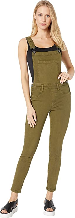 Olive Skinny Overalls in Apple Jack