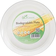 "Biogreen Disposable 9"" Plate, Milky White (Pack of 20)"