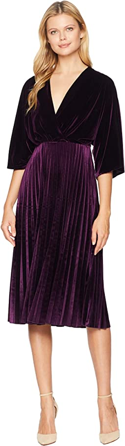 Stretch Velvet Kimono Sleeve Pleated Dress