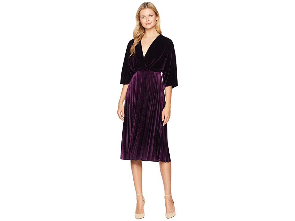 Maggy London Stretch Velvet Kimono Sleeve Pleated Dress (Aubergine) Women