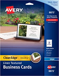 Avery Printable Business Cards, Inkjet Printers, 200 Cards, 2 x 3.5, Clean Edge, Heavyweight, Linen Textured (8873), White