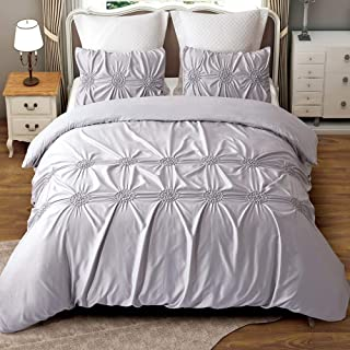Alicemall Gray Bedding Set Silk Like Microfiber Polyester Hypoallergenic 3 Pcs Duvet Cover Set Queen Size Satin Silky Bed ...