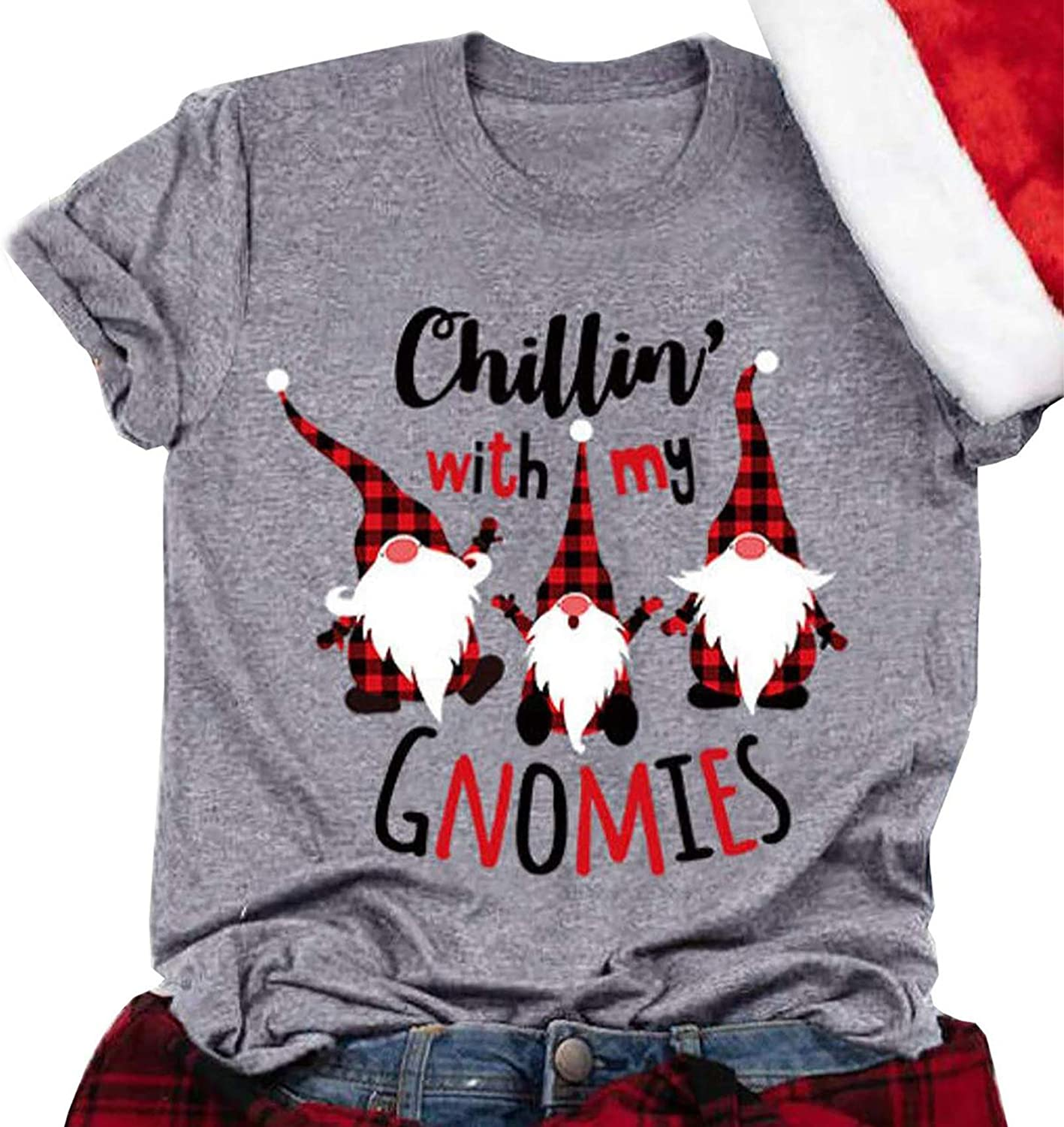 Christmas Chillin' quality assurance with My Gnomies Factory outlet Plaid Cute T-Shirt Women Gnom