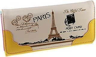 Vintage Style PU Leather Cute Paris Effiel Tower Cartoon Trifold Wallet Cash Coin Long Purse Card Holder for Women & Girls