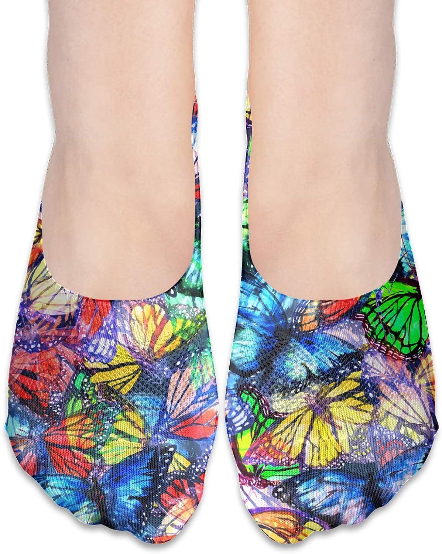 Butterfly Pattern Of Flying Comfortable Boat Socks-Sweat Wicking Non-Slip Socks Leisure Sports Deodorant Foot Socks