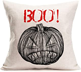 Asamour Halloween Quote Pillow Covers Autumn Fall Decor Horrific Halloween Boo Saying with Pumpkin Jack-o-Lantern Throw Pillow Case Cushion Cover Cotton Linen 18x18 Inch Square Pillows for Sofa Couch