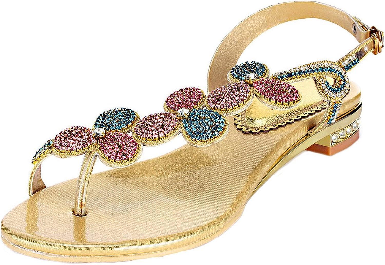 LizForm Sparkle Crystal Thong Flat Sandals Asymmetrical Strappy Sandal Slingback shoes