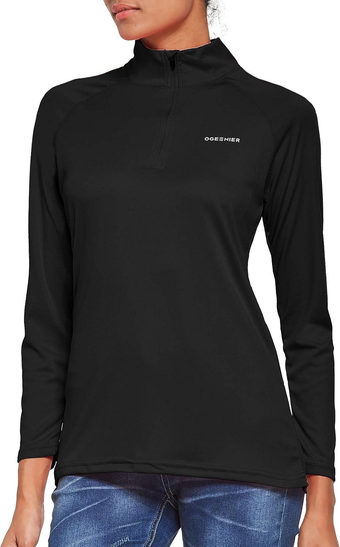 UV Sun Protection Outdoor 1//4 Zip Pullover Ogeenier Womens Long Sleeve Running Top Sport Shirts UPF 50
