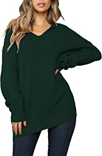 Women's V-Neck Loose Fit Oversized Knit Hooded Pullover Sweaters