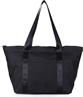 Nylon Family Travel Tote Beach Bag with Zipper for Women, Teacher or Nurse (Black)