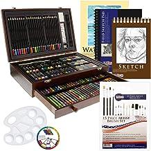 هنر هنر ایالات متحده 162 Piece-Deluxe Mega Wood جعبه هنر، نقاشی و طراحی مجموعه ای است که شامل تمام لوازم اضافی شما نیاز به شروع.