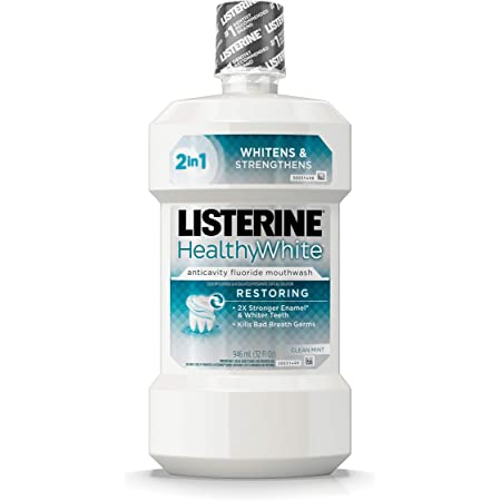 Listerine Healthy White Restoring Fluoride Mouth Rinse, Anticavity Mouthwash for Teeth Whitening, Bad Breath and Enamel Restoration, Clean Mint, 32 fl. oz