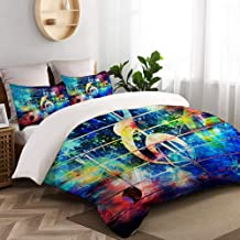 ALLMILL Duvet Cover King Size,Beautiful Abstract Colorful Collage with Music Notes and The Violin Clef,Decorative 3 Pieces Bedding Set with Zipper Closure and 2 Pillow Shams (104