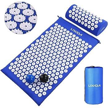 Lixada Ensemble de tapis d'acupression et oreiller avec 2 balles de massage à picots pour soulager les douleurs du dos, du cou/des pieds et relaxation musculaire avec sac de transport
