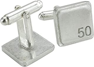 Square Cufflinks with '50' Engraved - 50th Anniversary