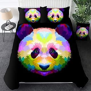 Sleepwish Panda Bedding Panda Bear Comforter Cover Set 3 Pieces Cute Kids Wildlife Animals Bedding Modern Panda Duvet Cover with 2 Matching Pillow Shams(Colorful Panda Geometric Pop Art,King)