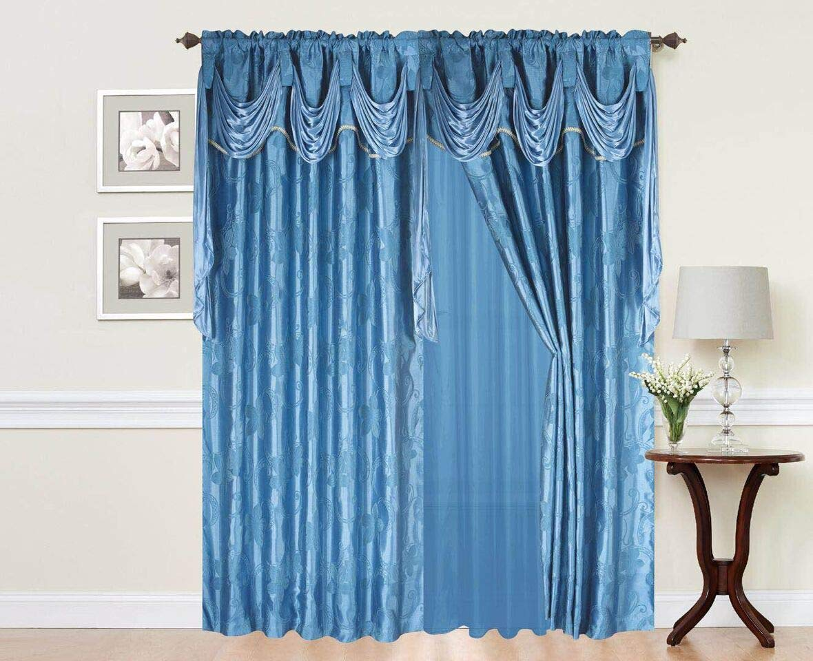 Elegant Home Window Curtain Drapes All In One Set With Valance Sheer Backing Tassels For Living Room Bedroom Dining Room And Sliding Doors Charity Turquoise Buy Online In Faroe Islands At