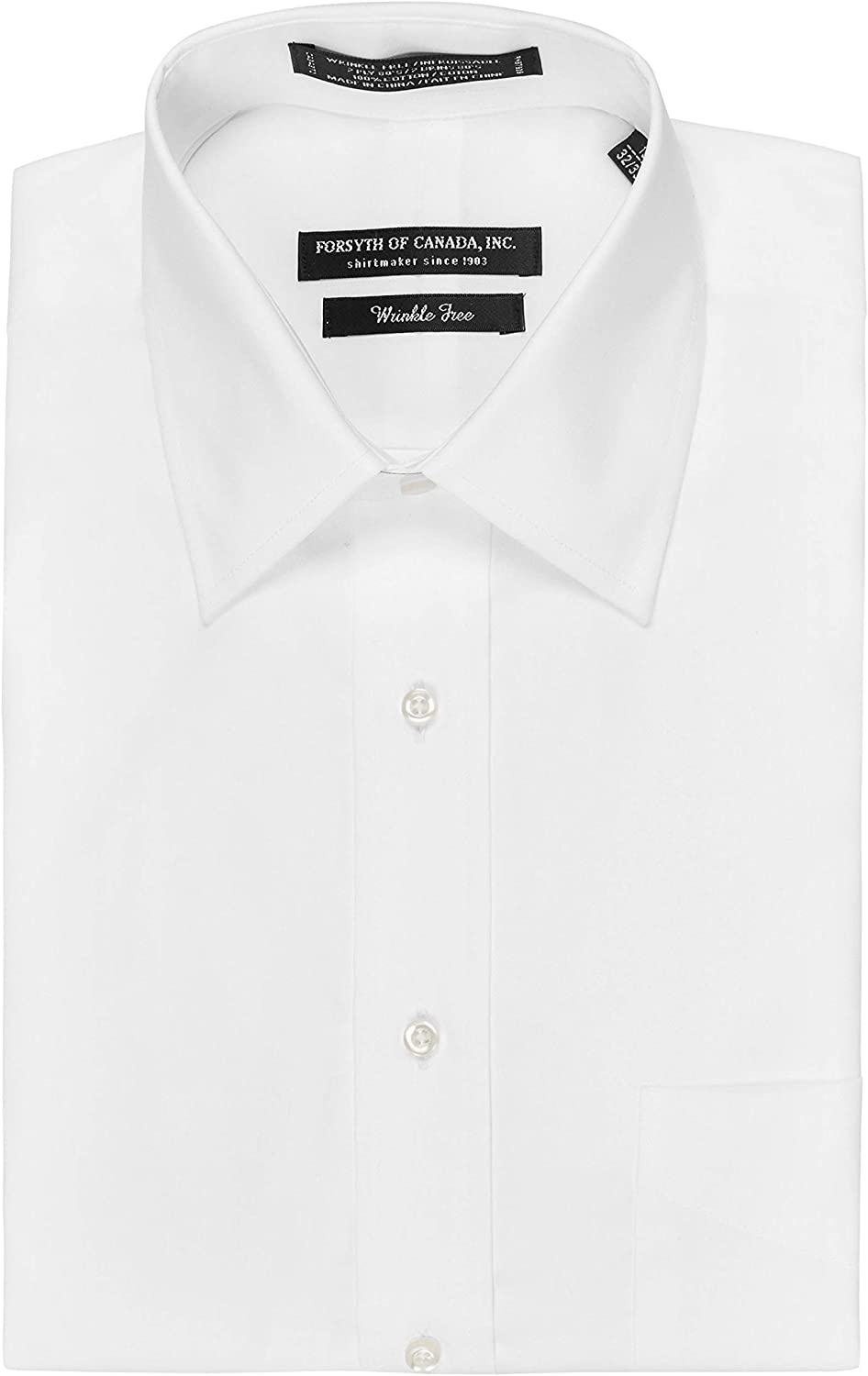 Forsyth of Canada Traditional Fit Non-Iron Long Sleeve Dress Shirt (White, 19
