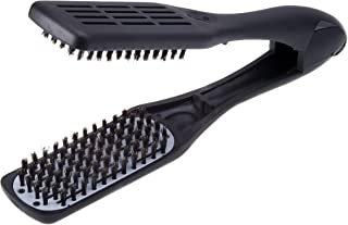 Denman Professional Hair Straightener Brush D79 - Ceramic Flat Iron Hair Comb with Boar Bristles - For Wide, Wavy, Curly, ...