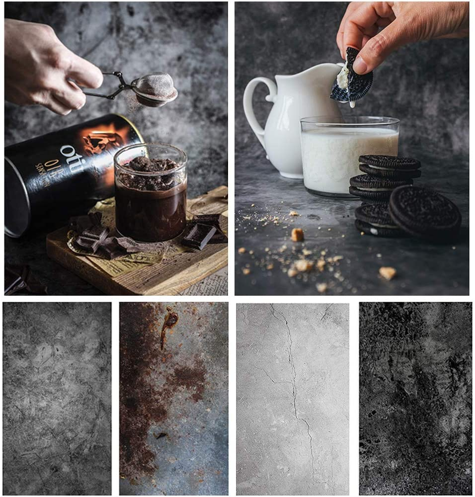 Bcolorpic Food Photography Backdrop Paper Concrete 2 Pack 22x35Inch/ 56x86cm Black Photo Background Double Sided for Flat Lay Product Photoshoot Tabletop Pictures Props, 4 Pattern