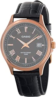 Casio MTP-1383RL-5AVDF Leather Band Mens Watch Rose Gold Dial, Analog