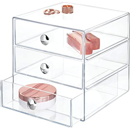 iDesign rangement maquillage à 3 tiroirs, boîte de rangement compacte en plastique pour produits de beauté, ou cosmétiques, boîte à bijoux carrée, transparent