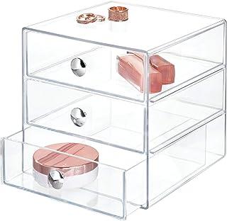 iDesign rangement maquillage à 3 tiroirs, boîte de rangement compacte en plastique pour produits de beauté, ou cosmétiques...