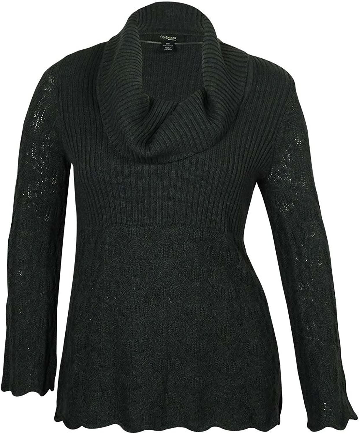 Style & Co. Women's Ribbed Crochet Sweater (PL, Charcoal)