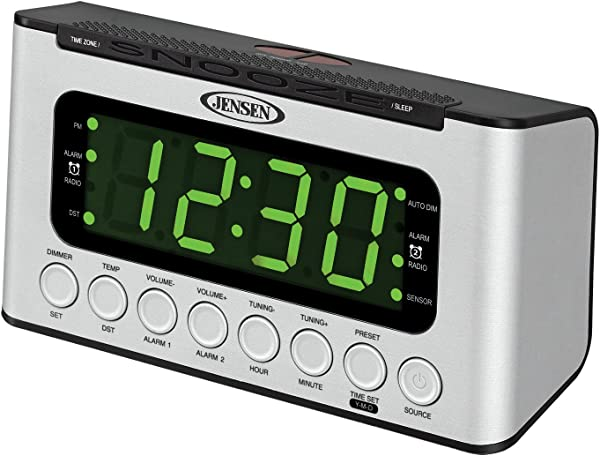 JENSEN JCR 231 Digital AM FM Dual Alarm Clock Radio With Wave Sensor