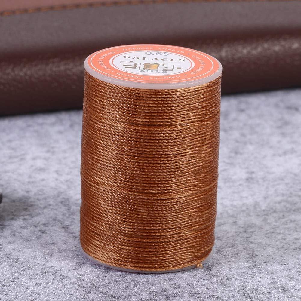 zhoul 6 Colori 85 m//Rotolo 0,65 mm Tondo per Filo Cerato in Pelle Cucito a Mano Cucito Artigianato Caldo Nero