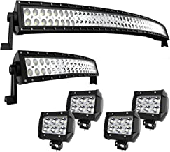 TURBO SII DOT Approved 52 Inch Curved LED Light Bar + 22Inch Curved Light Bar Combo Offroad Lights + 4PCS 4