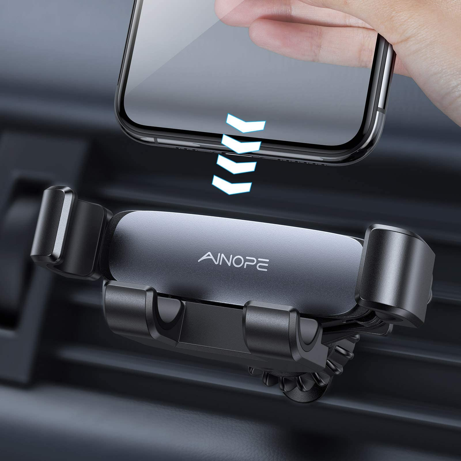 AINOPE Car Phone Holder Mount, 2021 Upgraded Gravity Phone Holder for Car Vent with Upgraded Hook Clip Auto Lock Hands Free Air Vent Cell Phone Car Mount Compatible with 4-7 inch Smartphone