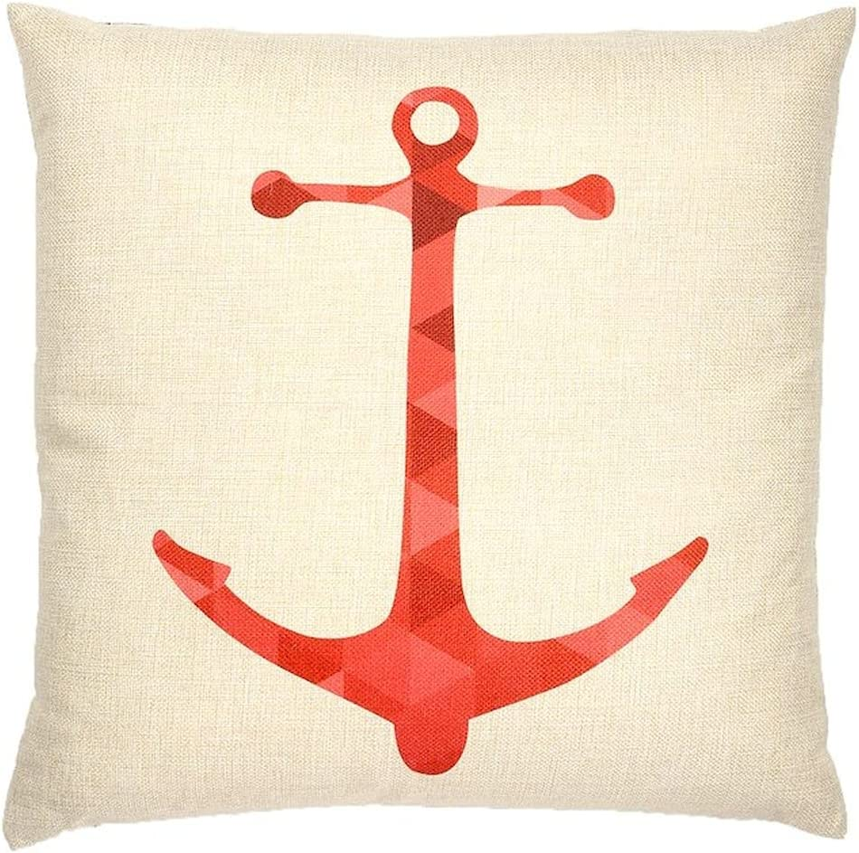 Cheap OFFicial shop bargain Off White with Shades Anchor of Cushion Red