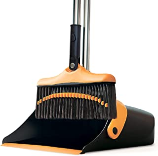 Broom and Dustpan Set with Long Handle - Kitchen Brooms and Stand Up Dust Pan Magic Combo Set for Home - Lobby Broom with ...