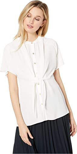 Button Front Self Tie Top