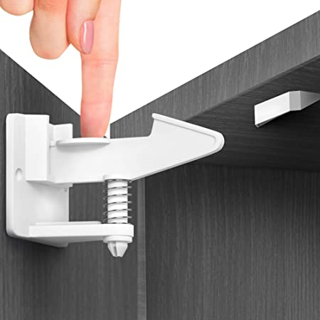 10 Pack Child Safety Locks Drawers MEQUER Cabinet Locks White Fridge with Strong Adhesive Tape Baby Proofing Cabinet for Cabinet Baby Safety Cabinet Locks Oven