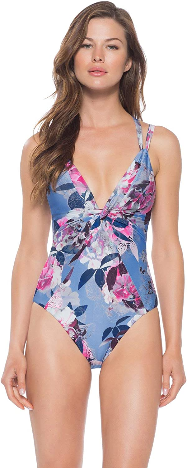 Becca by Rebecca Virtue Women's Twisted Shirring Plunge One Piece Swimsuit Swimsuit
