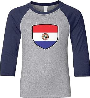 Amdesco Paraguay Shield Paraguayan Flag Youth Raglan Shirt