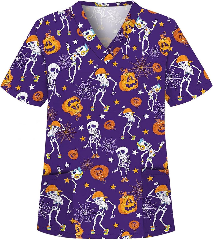 MASZONE Scrub_Top for Womens Halloween Pumpkin Ghost Work Uniform Short Sleeve Nurses_Tunic Blouses V-Neck Workwear Tops