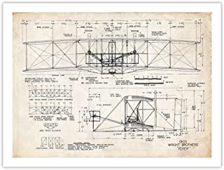 Wright Flyer Poster 1903 Flying Machine Patent Art Handmade Giclee Gallery Print Parchment (24 x 18)