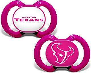 Baby Fanatic NFL Legacy Infant Pacifiers, Houston Texans Pink, 2 Pack