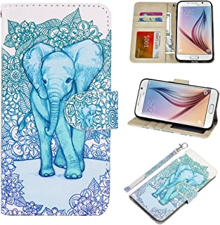 S6 Case, UrSpeedtekLive Galaxy S6 Wallet Case, Premium PU Leather Wristlet Flip Case Cover w/Card Slots & Stand Compatible Samsung Galaxy S6,Elephant(Official Micklyn Le Feuvre Product)