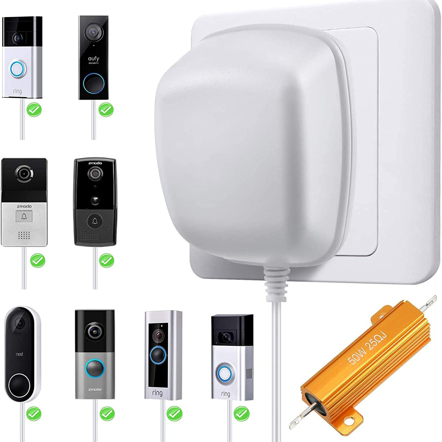 Doorbell Transformer Power Adapter with 50 W 25 Ohm Resistor for