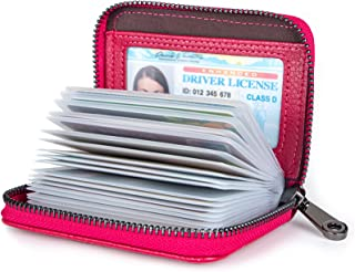 Credit Card Holders Women Ladies Leather Credit Card Wallets Business Credit Card Holder Card Case for Women Rose red