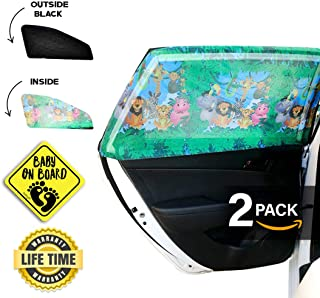 CAR Side Window Sun Shade (2 Pack) | Protects Your Babies and Kids from The Sun/UV Rays by up to 98% | Fits Most Models,NOT for Big SUV | Baby ON Board CAR Sign Included(Jungle)