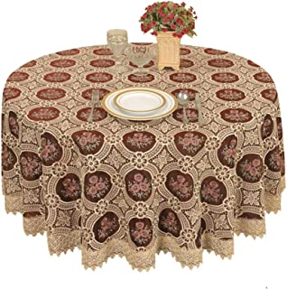 Simhomsen Small Vintage Burgundy Lace Tablecloth for Coffee Table Round 36 Inch